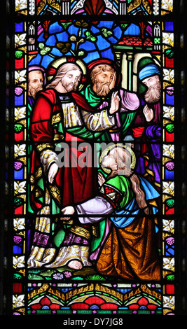 Stained Glass Window In St George's Church, a Grade I listed building In Everton, Liverpool, UK - Stock Photo