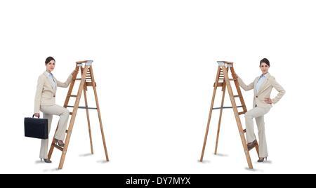 Multiple image of businesswoman climbing ladder - Stock Photo