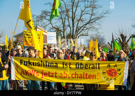Anti-nuclear demonstration on the 3rd anniversary of the Fukushima nuclear disaster, at Fessenheim nuclear power - Stock Photo