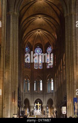 Choir, altar, nave, Notre-Dame de Paris, Ile de la Cité, Paris, Ile-de-France, France - Stock Photo