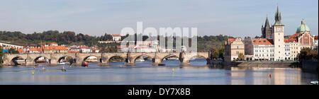 View over the Vltava River with the Bedrich Smetana Museum and Charles Bridge, Prague, Bohemia, Czech Republic - Stock Photo