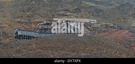 Old coal mine, Longyearbyen, Spitsbergen Island, Svalbard Archipelago, Svalbard and Jan Mayen, Norway - Stock Photo