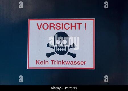 Sign 'Vorsicht! Kein Trinkwasser', German for 'Caution! No drinking water', Germany - Stock Photo