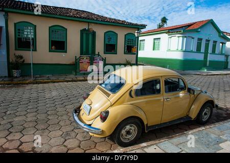 Old Volkswagen Beetle, Pirenópolis, Goiás, Brazil - Stock Photo