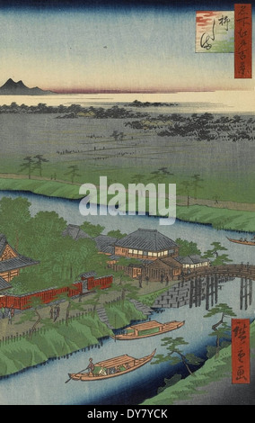 Utagawa Hiroshige One Hundred Famous Views of Edo - No. 32 Yanagishima - Stock Photo