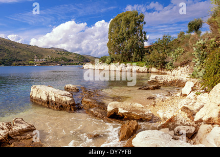 View of a picturesque cove on the Kassiopi peninsula on Corfu, Greece - Stock Photo
