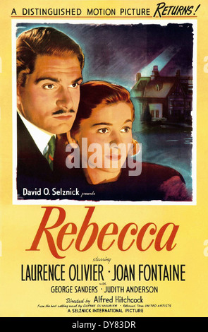 Rebecca - Movie Poster - Directed by Alfred Hitchcock - United Artists - 1940 - Stock Photo