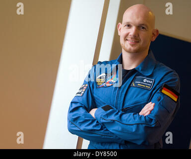 Berlin, Germany. 09th Apr, 2014. Alexander Gerst, an astronaut of ESA (European Space Agency), poses during an interview - Stock Photo