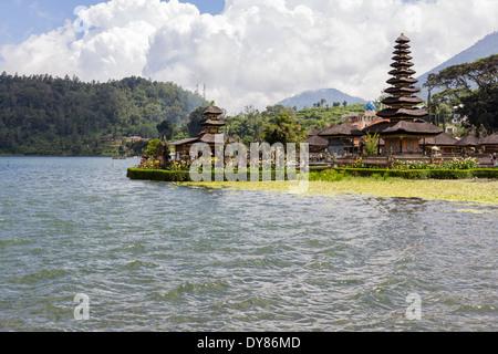 Pura Ulun Danu Bratan or Pura Bratan, is a major Shivaite and water temple on Bali, Indonesia. - Stock Photo
