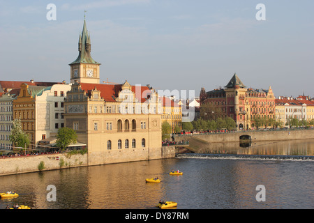 The Old Town of Prague - View from the famous Charles Bridge to the riverside of the Vltava, Czech Republic, Europe - Stock Photo