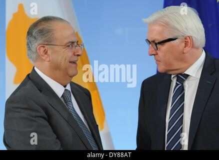 Berlin, Germany. 09th Apr, 2014. German Foreign Minister Frank-Walter Steinmeier (SPD, R) welcomes his Cyprian ministerial - Stock Photo