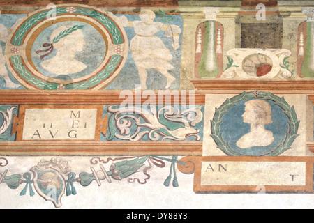 Royal Castle,Wawel Hill, detail of frescos on upper floor of courtyard - Stock Photo