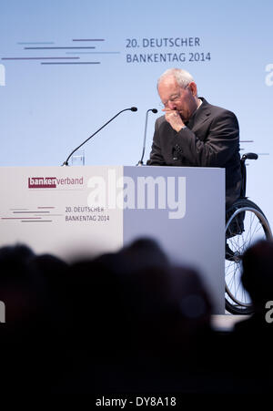 Berlin, Germany. 09th Apr, 2014. German Minister of Finance Wolfgang Schaeuble (CDU) speaks during the 20th German - Stock Photo