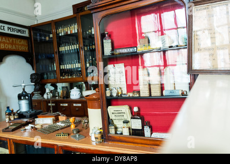 Victorian chemist shop lotions and potions on shelves health treatment Lincoln City Lincolnshire UK GB England - Stock Photo