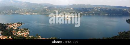 Italy, Piemont, Orta, San Giulio, lake, island, isle, building, scenery, Pella, panorama - Stock Photo