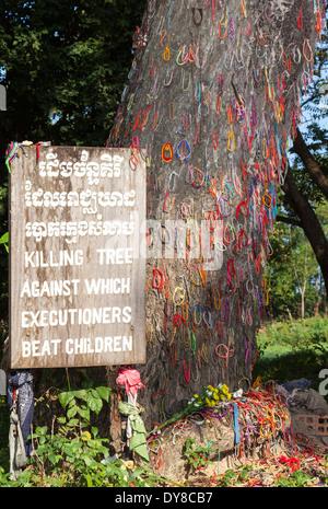 The Killing Tree, inside the Killing Fields ( Choeung Ek ) Memorial Site in Phnom Penh, Cambodia - Stock Photo