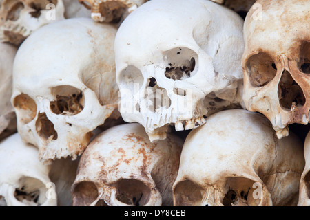 Skulls Displayed inside the Killing Fields ( Choeung Ek ) Memorial Site in Phnom Penh, Cambodia - Stock Photo