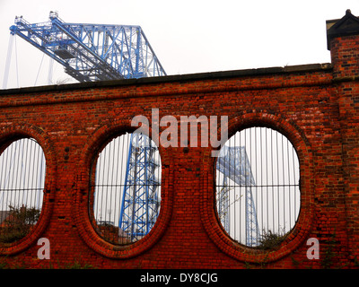 Historic Transporter Bridge spanning the River Tees at Middlehaven, Middlesbrough, Teesside, England, UK - Stock Photo