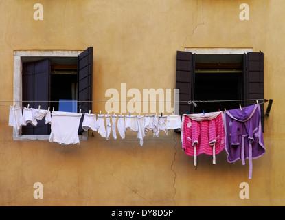 washing on the line, venice, italy - Stock Photo