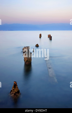 Remains of an old dock in Petalidi village, Messene municipality, Messenia, Peloponnese, Greece - Stock Photo