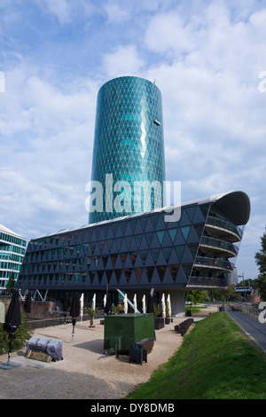 westhafen tower, frankfurt am main, hessia, germany, europe - Stock Photo