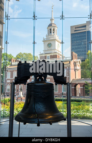 Liberty Bell and Independence Hall in Independence National Historical Park, Philadelphia, PA - Stock Photo
