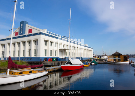 USA, Washington, Seattle, Museum of History and Industry, view from the Center for Wooden Boats, on Lake Union. - Stock Photo