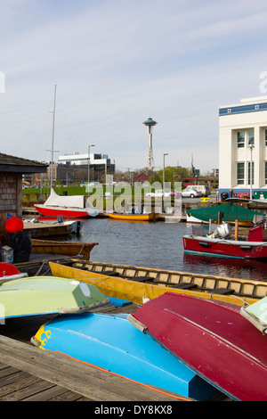 USA, Washington, Seattle, view from the Center for Wooden Boats, on Lake Union. - Stock Photo