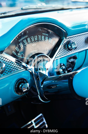 1960 39 s chevrolet classic car dashboard detail with steering wheel and stock photo royalty free. Black Bedroom Furniture Sets. Home Design Ideas