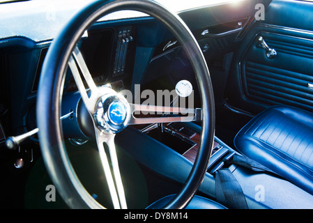interior of a classic vintage car with column steering and wood trim stock photo 164922744 alamy. Black Bedroom Furniture Sets. Home Design Ideas