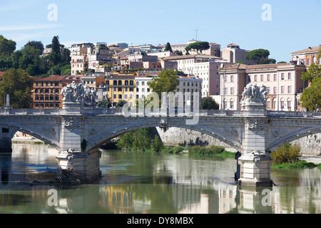Ponte Vittorio Emanuele II bridge over Tiber river Rome, Italy - Stock Photo