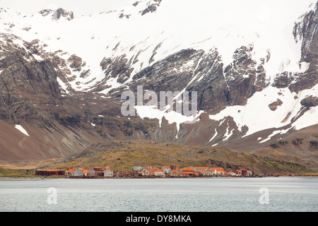 Leith Harbour Whaling Station on South Georgia. - Stock Photo