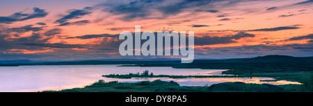 Sunset at lake Myvatn, Iceland - Stock Photo