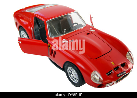 Ferrari GTO diecast 1962 model car by Burago isolated on a white background. - Stock Photo