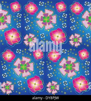 Seamless background with stylized flowers - Stock Photo