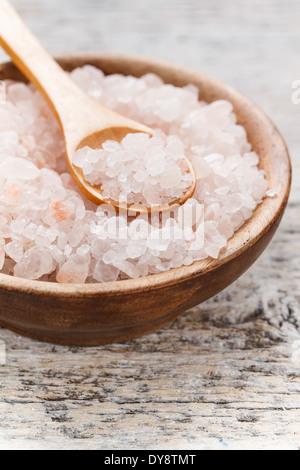 Pink himalayan salt in a bowl - Stock Photo