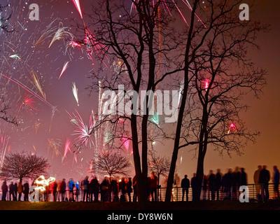 New Year's Eve fireworks, Erfurt, Germany - Stock Photo