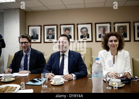 Athens, Greece. 10th Apr, 2014. Meeting of the Greek Minister of Finance John Stournara with Vice President of the - Stock Photo