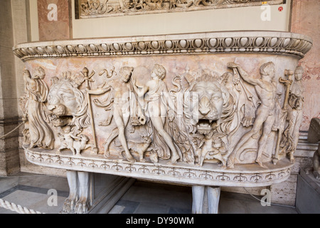 Roman sarcophagus of a Dionysian procession, Vatican Museum, Rome, Italy - Stock Photo