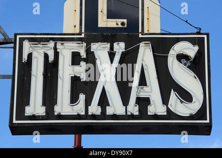 North America, Texas, USA, United States, America, Fort Worth, neon, sign - Stock Photo