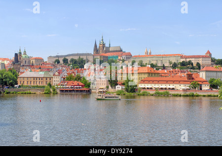 View of Prague Castle over Vltava River, Czech Republic - Stock Photo