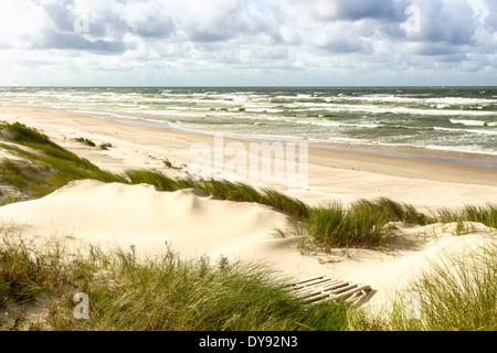 Sand dunes on the Baltic sea coastline in Nida. Lithuania - Stock Photo