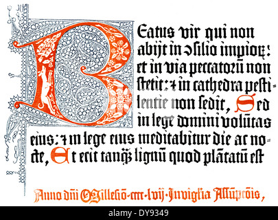 Detail, facsimile of the first page and the end signifaction, The Mainz Psalter, 1457, printed by Peter Schöffer - Stock Photo