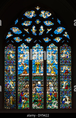 UK, England, East Sussex, Rye, St Mary's church Benson memorial west window - Stock Photo