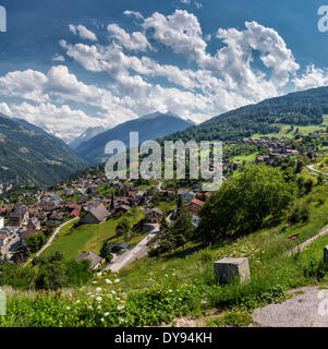 View, Val d'Herens, town, village, summer, mountains, hills, Vex, Wallis, Valais, Switzerland, Europe, - Stock Photo