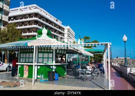 Cafe terrace, La Marina seaside street, Arrecife, Lanzarote, Canary Islands, Spain, Europe - Stock Photo