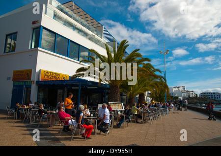 Restaurant exterior, Charco de San Gines lake, Arrecife, Lanzarote, Canary Islands, Spain, Europe - Stock Photo