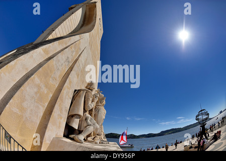 Portugal, Lisbon: Detail of the Monument of the Discoveries - Stock Photo