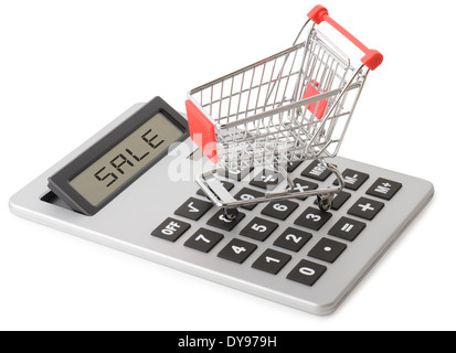 Concept of shopping sales with a shopping cart on a calculator isolated on a white background