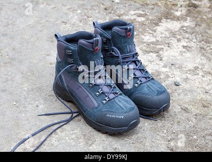 A brand new pair of Mamut walking boots - Stock Photo